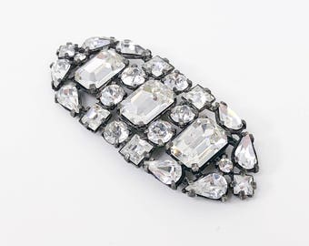 20s30s  Large Rhinestone Brooch | Faceted Glass Stones
