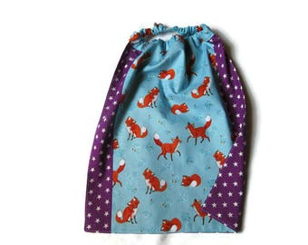 napkin canteen nursery purple blue elasticated, little foxes stars