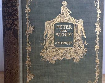 Peter and Wendy, J.M. Barrie, 1911, first American edition, rare illustrated rare children's classic, antique book, Peter Pan