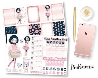 Pink & Navy Weekly Planner Sticker Kit | Erin Condren Planner Stickers | Any Planner Stickers