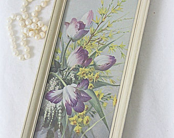 Vintage Small Floral Print Under Glass in Wooden Frame, Spring Time Flowers Painting Print, Vernon Ward