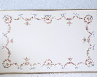Rare Vintage Large Porcelain Tray with Silver Metal Frame, Flower Garlands and Bow Decor, Display Tray, Vanity Tray