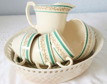 Vintage Burleigh Demitasse Coffee Set, Green Bands and Gilded Decor, Hand Made Antique Wedgwood 18th Century Bowl, England