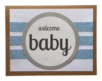 Welcome Baby Boy - Blank Greeting Card