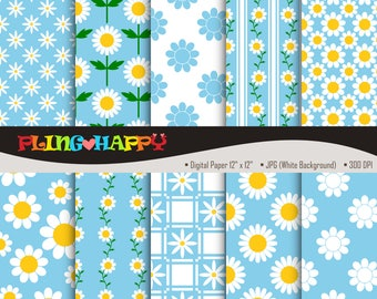 70% OFF Daisy Sky Blue Digital Papers, Daisy Sky Blue Digital Papers Graphics, Personal & Small Commercial Use, Instant Download