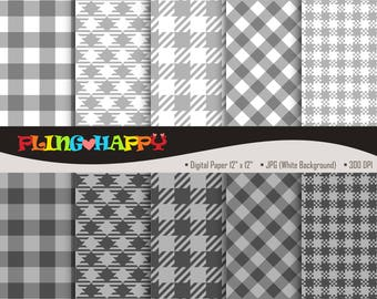70% OFF Gingham Gray Digital Papers, Gingham Pattern Digital Papers Graphics, Personal & Small Commercial Use, Instant Download