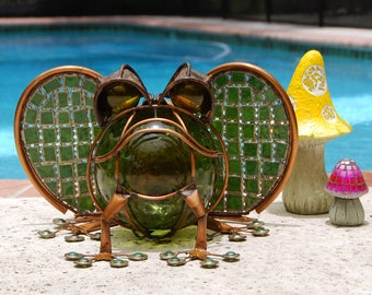Metal Frog Yard and Garden Sculpture in shades of Kelly and Olive Green