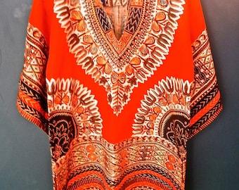 Childs original 1960's Ethnic print hippy dress/top
