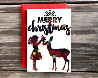 Deer and Child Art Christmas Card, Merry X-Mas Holiday Cards