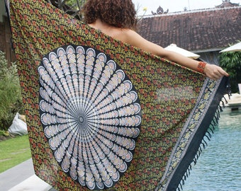 Beach Sarongs/Scarves/Shawl fringes/Boho/ Beach cover up/pareo sarong wrap/Swimsuit cover up  * BOHO SARONG