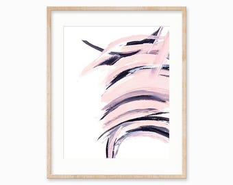 Pink and Black Abstract Paint Strokes, Instant Digital Download, 5x7, 8x10, 11x14