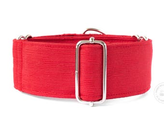 """Ruby, dog collar, red, monochrome, wide sighthound collar, 2"""" martingale, 1.4"""" martingale"""