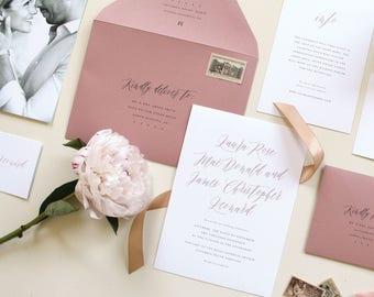 Calligraphy Wedding Invitation, Modern Calligraphy Wedding Invitation, Modern Wedding Invitation, Simple Romantic Design, Wedding Invite