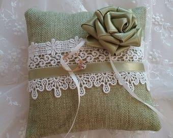 Ring Bearer Pillow Green/ white lace/ romantic rose