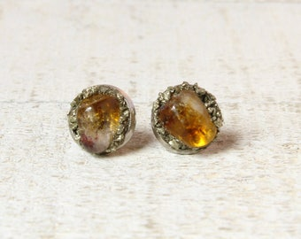 Citrine Earrings, Raw Citrine Earrings, Citrine Stud Earrings, Raw Citrine, November Birthstone, Raw Gem Earrings, Raw Crystal Earrings