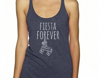Fiesta Forever Tank Top, Women's Graphic Racer back Tank, Indigo