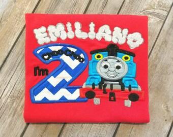 Thomas the Train birthday shirt. With smoke name.