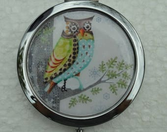 1 Pocket mirror, handmade OWL purse