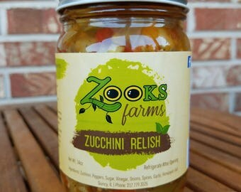 Zooks Farms Zucchini Relish, No MSG's, Additives or Preservatives. Low Sodium