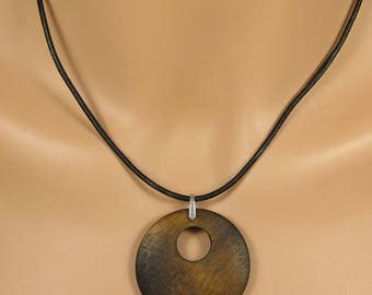Wood and Leather necklace, Donut necklace, Leather cord necklace