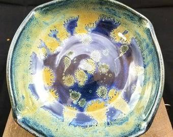 Blue Ceramic Serving Bowl, Pottery Bowl, Blue Bowl, Ceramic Bowl, Pasta Bowl, Decorative Bowl, Square Bowl, Blue Pottery Bowl, Fruit Bowl