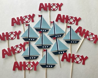 Nautical Cupcake Toppers • For Baby Shower • First Birthday • Baby Boy • Nautical Theme • Sailboat • Ahoy