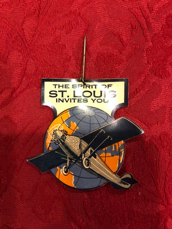 FREE SHIPPING - Antique Celluloid -The Spirit Of Saint Louis Invites You-Hang Tag Pin