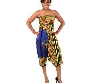 Traditional Dashiki Jumpsuit Converts to Pants