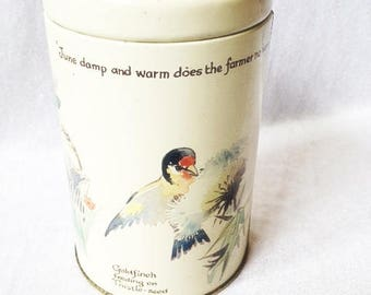 Bird Tin 1977 Webb & Bower Goldfinch Sparrow Vintage Bird Tin Canister Tin Canister With Birds
