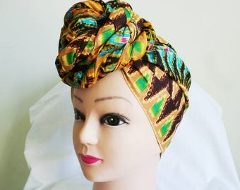 Brown and Gold Ikat Print Ankara Head Wrap, DIY head tie, Stylish African head scarf, Fabric hair accessory – Made to Order