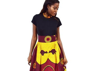 Yellow and Red Rooster African Wax Maxi Skirt,  Long Ankara Skirt, Long African skirt, Red and Yellow Maxi Skirt – Made to Order.
