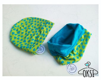 "Cap and loop ""heart"" baby/child green Blue Hearts"