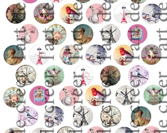 Digital prints with 50 cabochons 25mm, Paris eiffel tower Retro pattern