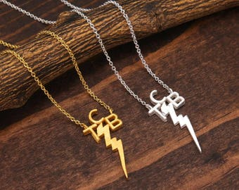 Taking Care of Business Necklace, Lightning Bolt Necklace, Minimalist Necklace, Statement Necklace, TCB Necklace, Gold Necklace BN875-2