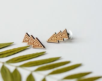 Triple Triangle Tribal Wood Stud Earrings, Geometric Laser Cut Wood Earrings, Minimalist Studs, Men Earrings, Hipster Earrings Women Earring