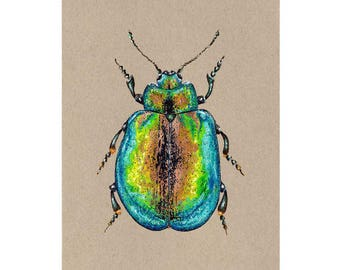 "Beetle original painting // Size A5 - 5.8"" x 8.3"""