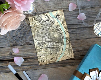 ST. LOUIS MO Gift Card Postcard Missouri St Louis City Mo Vintage map Retro Post Card Map Note Card Greeting Card Tiny Poster Print Gift Map