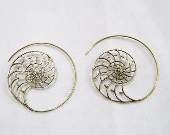 Beautiful Spiral Earrings , Golden Oxidized Earrings , 2 inches Round Hoop Earrings , Ethnic Jewelry , Indian Jewelry , Gold Tone Earrings.