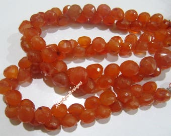 Genuine Carnelian Briolette Beads , Natural Carnelian Onion Shape 8-9 mm Beads , Strand 8 inch long , Semi Precious Beads , Faceted Gemstone