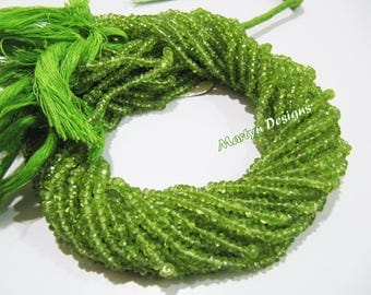 AA Quality Peridot Rondelle Faceted Beads , 3 to 4mm Peridot Beads , Strand 14 inches long , Semi Precious Stone Beads , Sold In Wholesale.