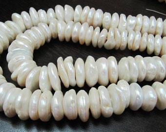 Natural Genuine Pearl Button Shape Beads , White Creamish Disc Shape Beads , Size 12mm Coin Shape Beads , Strand 8 Inches Long