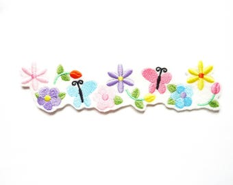 Patch fusible border butterflies and flowers