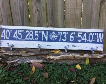Personalized latitude longitude coat rack sign/custom longitude latitude coat rack/family GPS coordinates sign/distressed coordinate sign