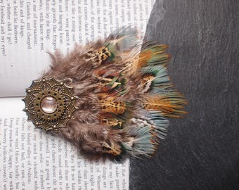 Unusual Pheasant Feather Hair Clip with Gold Mandala and Cogs. Bohemian, Huntress, Pagan, Tribal Jewellery. Festival, Steampunk Accessory.