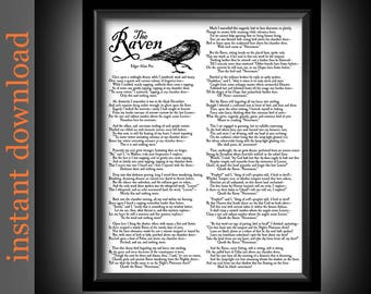 The Raven Printable, Instant Download, Raven entire poem, Edgar Allan Poe, Halloween decor, library art, bibliophile gift, literature print