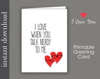 Anniversary Card, Printable Card, nerd anniversary, nerd birthday, talk nerdy, nerd love, nerd card, card download, Sweetest Day Card