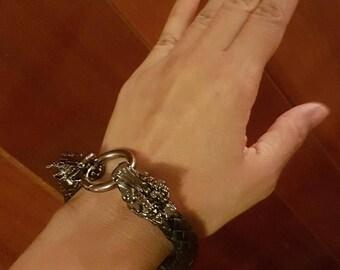 Braided Black (Bolo) Leather Bracelet, Dragon Clasp