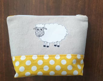 Cute sheep applique small knitting project bag, free motion embroidery, makeup bag, toiletry bag, pencil case, wash bag, sheep notion bag