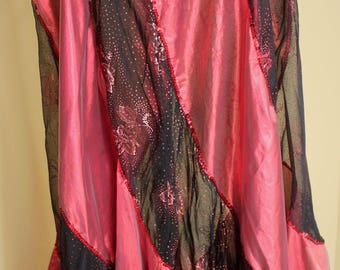 Stunning Vintage Belly Dance Skirts (2) and 2 Veils, Fiery, Shiny, Mid 80s.  Incredible Material, Orange, Burnt Orange