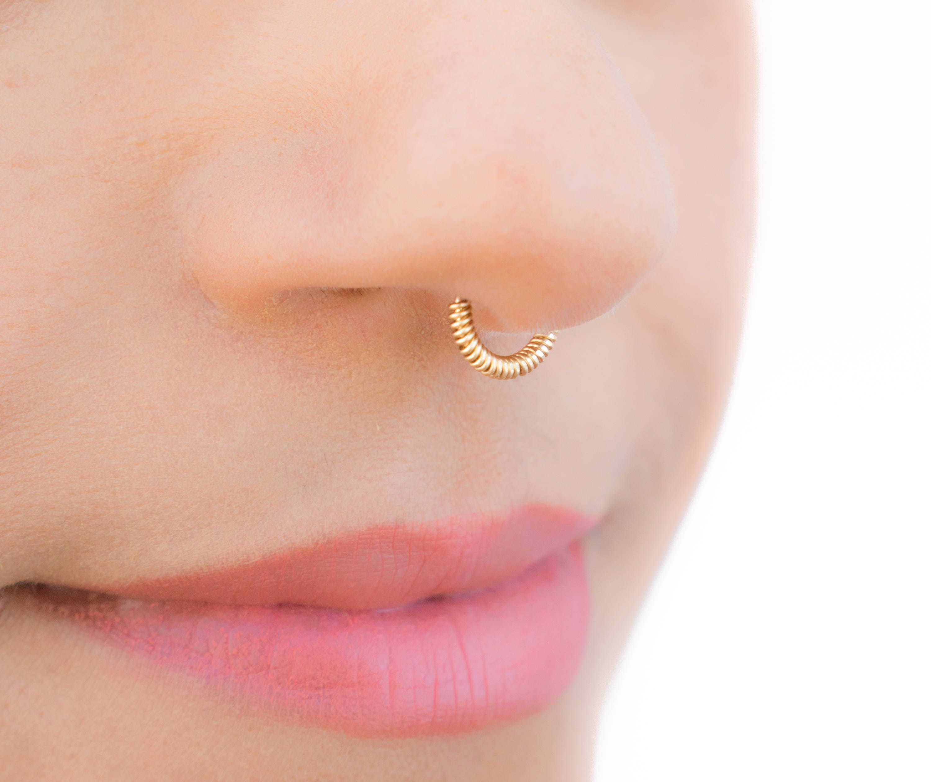 Brand new Fake Septum Ring Wrapped Gold Hoop - Gold Nose Cuff - Clip On Nose  PJ99